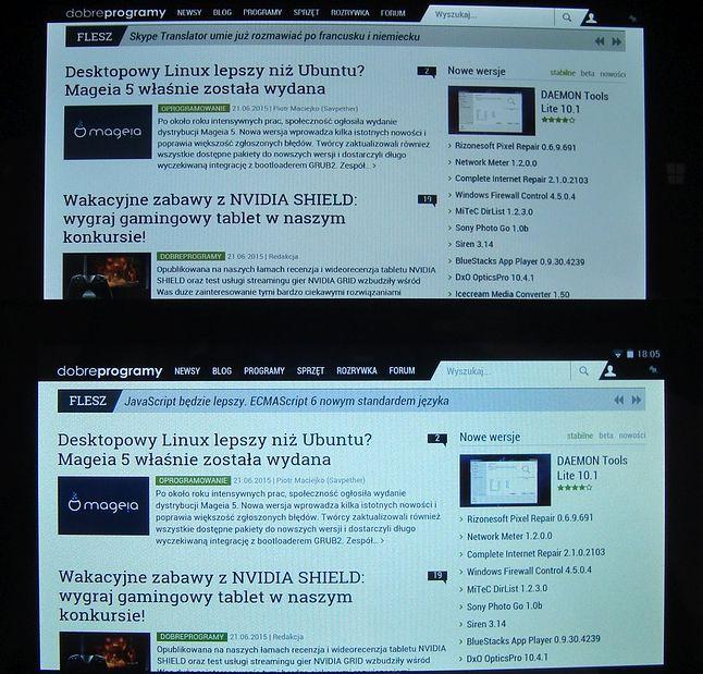 Ekran z zestawu (na zdjęciu powyżej) nie grzeszy jasnością, ale kąty są dobre