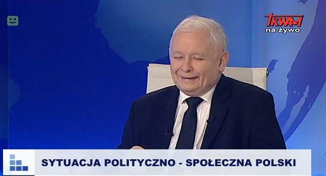 Jarosław Kaczyński podczas wywiadu w Telewizji Trwam.