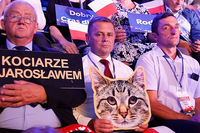 """""""Kociarze z Jarosławem"""". Nietypowy transparent dla Jarosława Kaczyńskiego na konwencji PiS"""