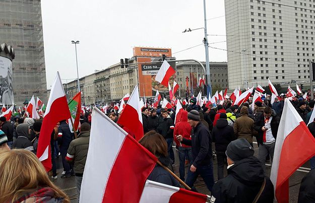 Początek Marszu Niepodległości w Warszawie.