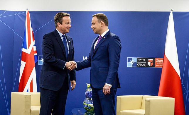Prezydent RP Andrzej Duda oraz premier Wielkiej Brytanii David Cameron.