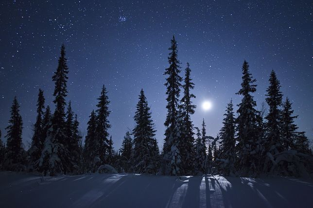 Pełnia księżyca podczas zimowej nocy w Kirunie w Szwecji