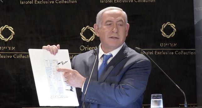 Benjamin Netanjahu wyjaśnił, że mapę osobiście opisał Donald Trump