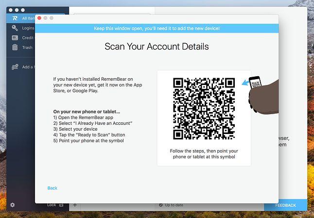 Dodawanie nowego urządzenia przez kod QR. Można także skanować kod wyświetlany na smartfonie kod kamerą wbudowaną w laptop.