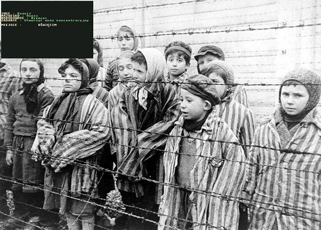 Zdjęcie z dokumentu o wyzwalaniu obozu koncentracyjnego Auschwitz-Birkenau