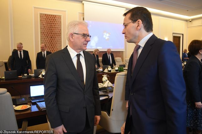 Szef polskiej dyplomacji Jacek Czaputowicz i premier Mateusz Morawiecki