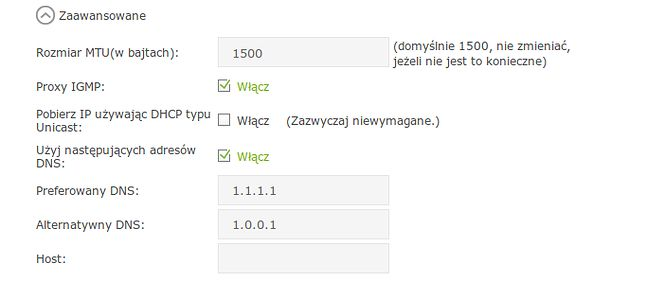 Ustawienia DNS w nowych routerach TP-Link: zakładka Zaawansowane > Internet > Interfejs WAN > Zaawansowane