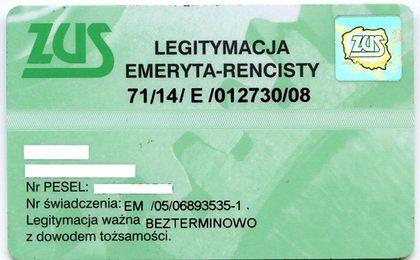 Z legitymacji emeryta znikną symbol i numer świadczenia