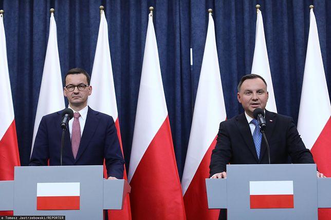 Premier Mateusz Morawiecki, prezydent RP Andrzej Duda. Konferencja ws. mediów publicznych.