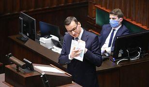 Premier Mateusz Morawiecki atakował opozycję, broniąc Jacka Sasina