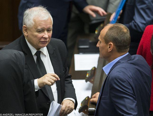Jarosław Kaczyński i Paweł Kukiz w Sejmie.