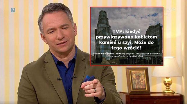 """Rafał Patyra, prowadzący program """"Rodzinny ekspres"""", w którym rozważano przywrócenie tortur wobec kobiet"""