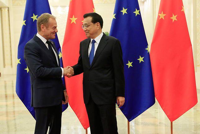 Przewodniczący Rady Europejskiej Donald Tusk i premier Chin Li Keqiang.