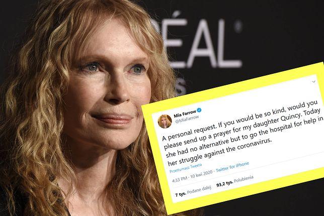 Mia Farrow poinformowała, że jej córka trafiła do szpitala. Powodem jest COVID-19