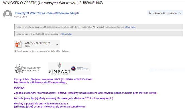 Złośliwy e-mail (fot. Kamil Dudek)