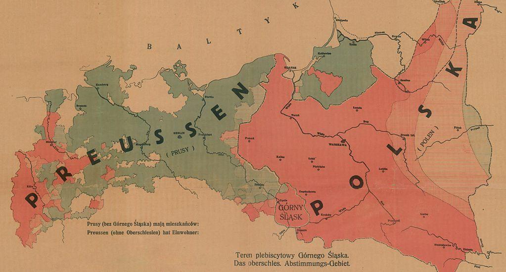 Górny Śląsk między Prusami i Polską na polskim druku propagandowym z 1921 roku.