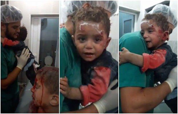 Wstrząsające nagranie syryjskiego chłopca, który w szoku po bombardowaniu wtula się w pielęgniarza
