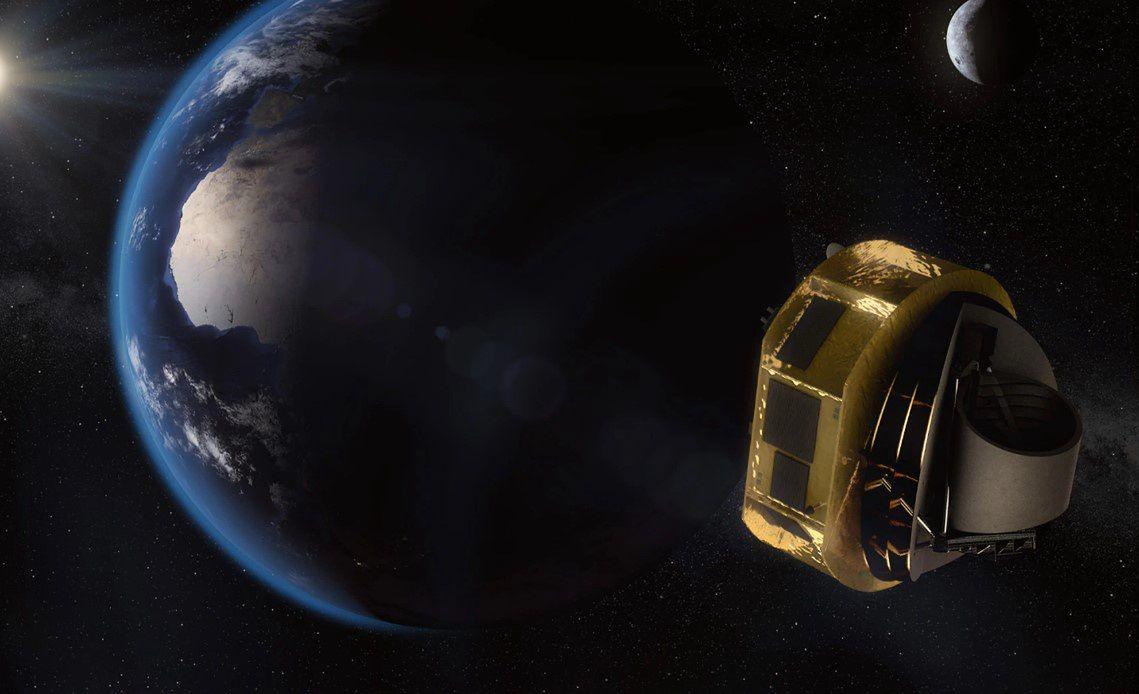 Wizualizacja teleskopu Ariel na tle Ziemi