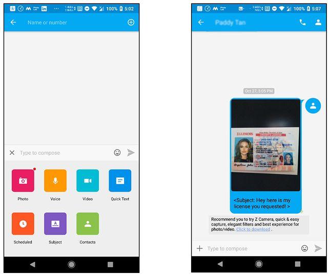 Wysyłanie zdjęć przez GO SMS Pro przypomina wysyłanie MMS-ów