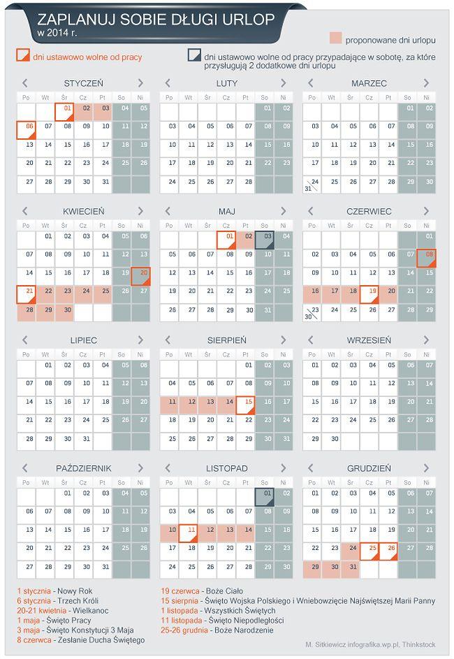 Dni wolne w 2014 roku. Jak zaplanować urlop?