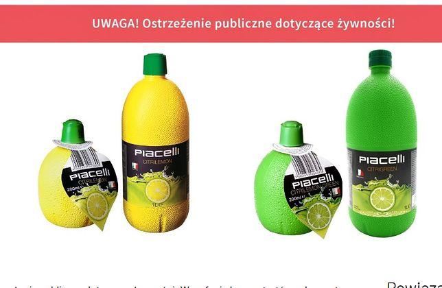 Koncentraty soków marki Piacelli zostały wycofane z rynku przez Główny Inspektorat Sanitarny