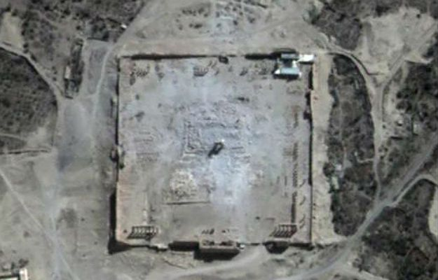Palmyra, Syria - 30 sierpnia 2015 r., zdjęcie satelitarne po eksplozji