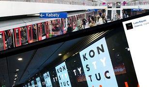 """Protest w metrze. Pojawiły się ogromne napisy """"konstytucja"""""""
