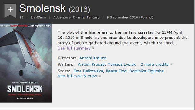 """""""Smoleńsk"""" w bazie IMDB został początkowo opisany jako """"film przygodowy, dramat, fantasy"""". Po poprawce został tylko """"dramat"""""""
