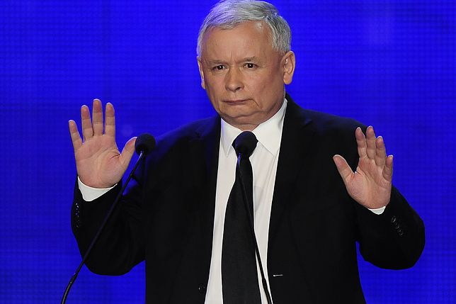 Jarosław Kaczyński w czasie konferencji.
