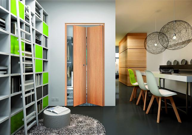Drzwi łamane to dobre rozwiązanie do małych mieszkań i miejsc, gdzie nie ma możliwości wygospodarowania wolnej powierzchni ściany