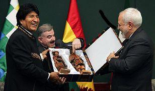 Prezydent Boliwii Evo Morales i szef irańskiej dyplomacji Mohammad Dżawad Zarif