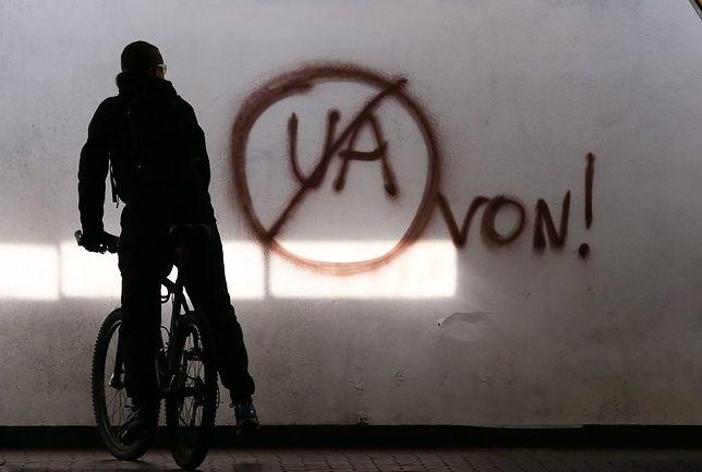Antyukraińskie hasła miały zostać zakwalifikowane przez policję jedynie jako akt wandalizmu
