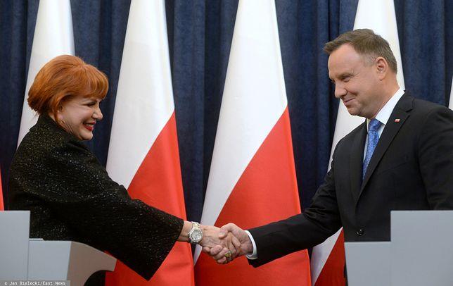 Prezydent Andrzej Duda i ambasador USA w Polsce Georgette Mosbacher