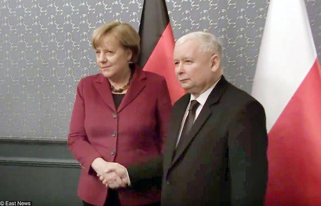 Angela Merkel i Jarosław Kaczyński podczas spotkania w hotelu Bristol w 2017 r.