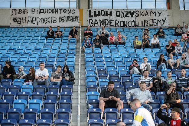 Transparent na meczu rugby Polska Ukraina