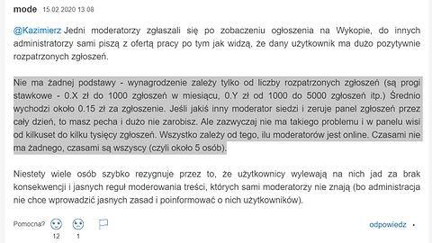 Cenzura na Wykop.pl - informacje o zarobkach moderatorów i ich pracy na akord