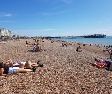 W Brighton żwirowa plaża ciągnie się przez całą szerokość miasteczka