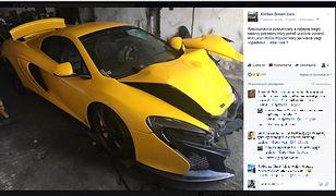 Właściciel rozbitego McLarena ma kolejne problemy. Szuka rzeczoznawcy, który wyceni mu szkody