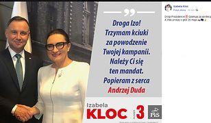 Zdjęcie prezydenta Andrzeja Dudy i posłanki PiS Izabeli Kloc w materiale KW PiS