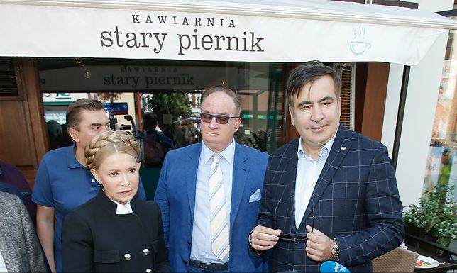 Tymoszenko, Saryusz-Wolski i Saakaszwili w Rzeszowie przed wyruszeniem na Ukrainę