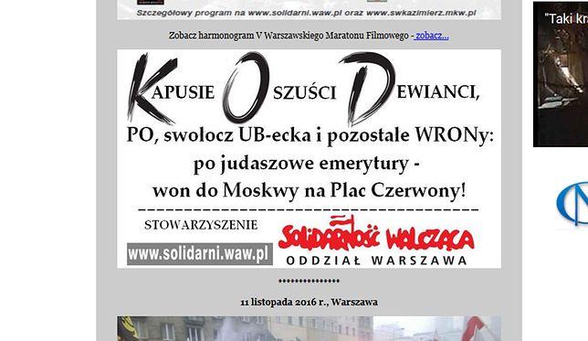Ilustrację z broszury Stowarzyszenie Solidarność Walcząca Oddział Warszawa prezentuje także na swojej stronie internetowej