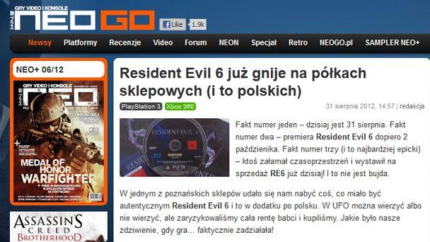 Niezależność dziennikarska czy po prostu uczciwość? Co zrobić z oryginalną kopią Resident Evil 6 na miesiąc przed premierą?