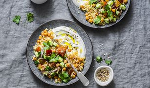 Spiced chickpeas and couscous with shepherd's salad and greek yogurt