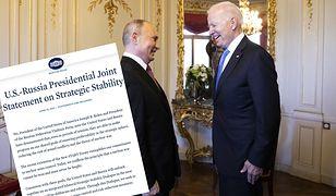 Spotkanie Biden-Putin. Jest wspólne oświadczenie prezydentów
