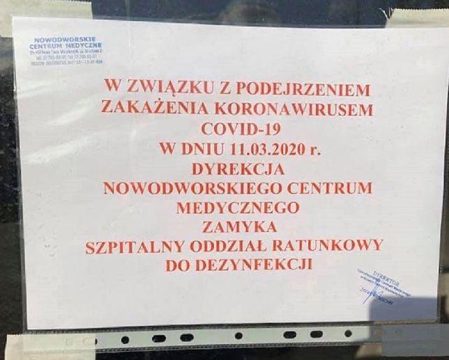 Koronawirus w Polsce. Oddział SOR w Nowodworskim Centrum Medycznym zamknięty