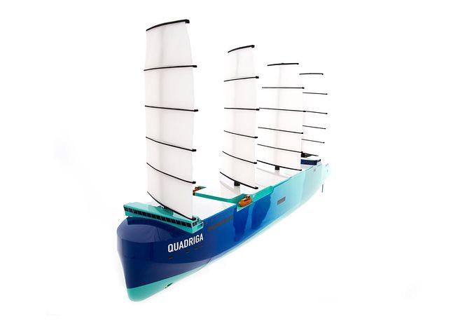 Statek towarowy z żaglami to jeden z pomysłów na statek niskoemisyjny.