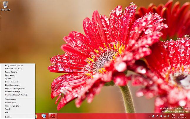 WIN+X w systemie Windows 8