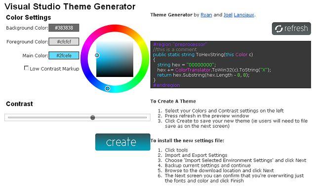 Visual Studio Theme Generator