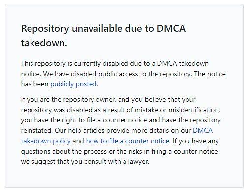 Repozytorium zostało już zablokowane na GitHubie na mocy ustawy o prawach autorskich.