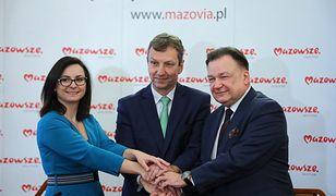 Kamila Gasiuk-Pihowicz z Nowoczesnej, Andrzej Halicki z PO i Adam Struzik z PSL podpisali porozumienie ws. sejmiku na Mazowszu